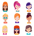 Set of young women faces vector image