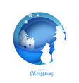 snowman origami paper cut snow design merry vector image vector image