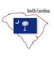 south carolina state map and flag vector image vector image