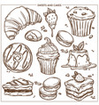sweet desserts cakes and bakery cupcakes sketch vector image