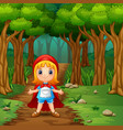 the girl hooded red in street forest vector image vector image