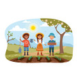 three young children working in a garden together vector image