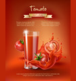 tomato juice ad vector image vector image