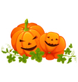 Two bright orange smiling pumpkins with leaves on vector image