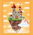 unicorn in castle scene vector image vector image