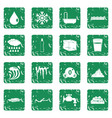 water icons set grunge vector image vector image