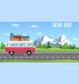 web banner on the theme of road trip vector image vector image