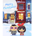 Winter city street with Christmas decorated homes vector image vector image