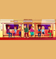 young and old people in subway vector image vector image