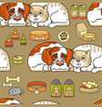 cartoon dog and cat seamless pattern on vector image