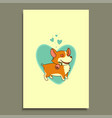 in love dog with a rose in his mouth on a vector image