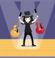 young boy playing electric guitar happy love vector image