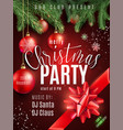 christmas party poster with hand lettering sign vector image
