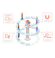 3d isometric flat concept user buying vector image