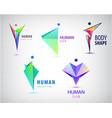 abstract man logos set positive healthy vector image vector image