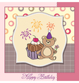 birthday greeting card with girl and big cupcake vector image vector image