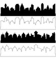 black and linear city silhouettes set of vector image vector image