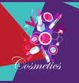 bright poster with cosmetics lipstick vector image