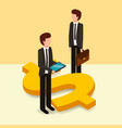 businessmen with briefcase and mobile dollar vector image vector image