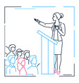 businesswoman speaking from a platform - line vector image