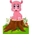 cartoon cute baby hippo on tree stump vector image