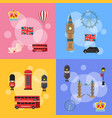 cartoon london sights and objects concept vector image