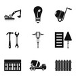 cement icons set simple style vector image vector image