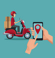 Color background with man worker in scooter and