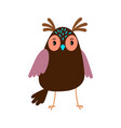 cute cartoon owl bird icon vector image