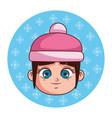 cute winter girl cartoon vector image