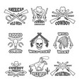 design template wild west badges western theme vector image