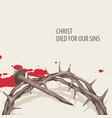 easter banner with crown of thorns and nail vector image vector image