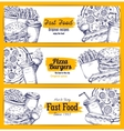Fast food sketch banners set vector image vector image