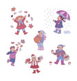 flat girls boy autumn outdoors fun vector image