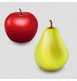 fresh red apple and pear transparent background vector image