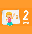 girl showing number two vector image vector image