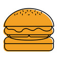 hamburger bread bun lettuce and cheese fresh vector image