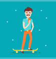 hipster character on longboard with a mobile phone vector image
