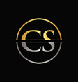 initial gold and silver color cs letter logo vector image vector image