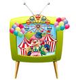Jester juggling balls on tv screen vector image