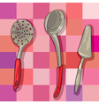 kitchen ladles vector image vector image