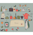 Kitchen shelf vintage background vector image