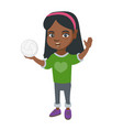 little african girl holding a volleyball ball vector image vector image