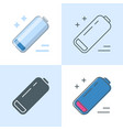 low battery icon set in flat and line style vector image