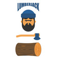 lumberjack icon set woodcutter sign lumberman vector image vector image