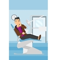 Man suffering in dental chair vector image vector image