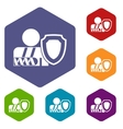 oken arm and safety shield icons set vector image vector image