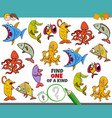 one a kind game for kids with marine animals vector image vector image