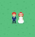 pixel art wedding couple characters vector image vector image