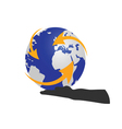 planet in hand color vector image vector image